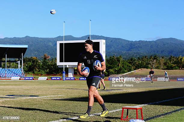 Israel Dagg runs through drills during a New Zealand All Blacks Captain's Run at Apia Park on July 7 2015 in Apia Samoa
