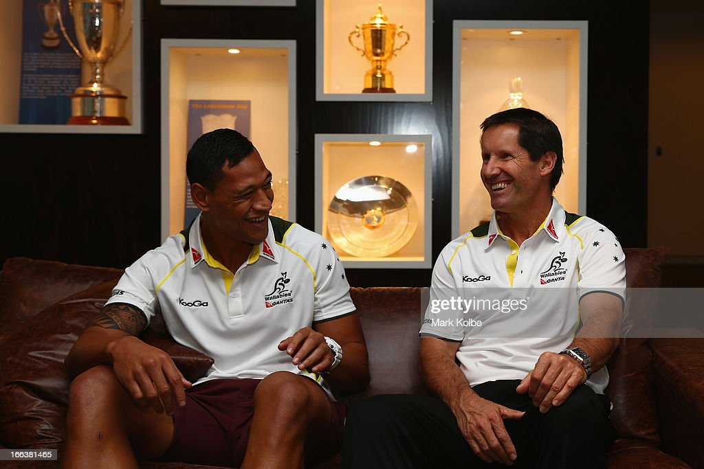 <a gi-track='captionPersonalityLinkClicked' href=/galleries/search?phrase=Israel+Folau&family=editorial&specificpeople=4194699 ng-click='$event.stopPropagation()'>Israel Folau</a> and Wallabies coach <a gi-track='captionPersonalityLinkClicked' href=/galleries/search?phrase=Robbie+Deans&family=editorial&specificpeople=606884 ng-click='$event.stopPropagation()'>Robbie Deans</a> share a laugh after an ARU Wallabies press conference announcing the inclusion of <a gi-track='captionPersonalityLinkClicked' href=/galleries/search?phrase=Israel+Folau&family=editorial&specificpeople=4194699 ng-click='$event.stopPropagation()'>Israel Folau</a> in the Wallabies players assembly at ARU Headquarters on April 12, 2013 in Sydney, Australia.