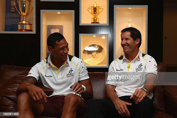 Israel Folau and Wallabies coach Robbie Deans share a laugh after an ARU Wallabies press conference announcing the inclusion of Israel Folau in the...
