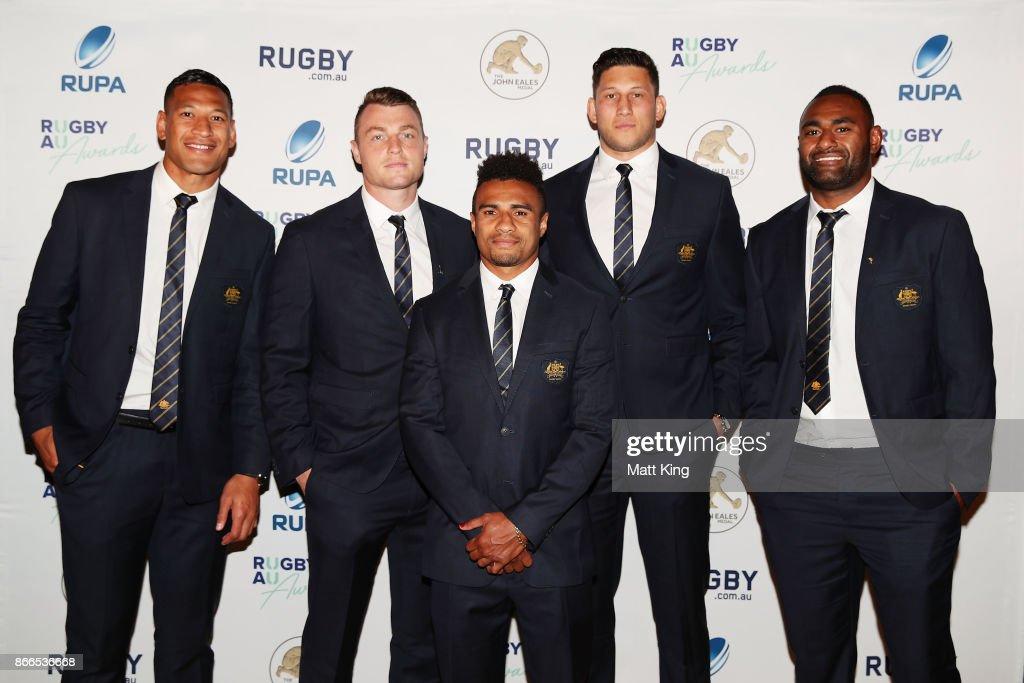 Israel Folau, Jack Dempsey, Will Genia, Adam Coleman and Tevita Kuridrani of the Wallabies arrive ahead of the 2017 Rugby Australia Awards at Royal Randwick Racecourse on October 26, 2017 in Sydney, Australia.