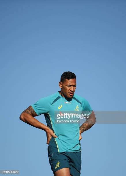Israel Folau looks on during a Wallabies hills training session on July 22 2017 in Sydney Australia
