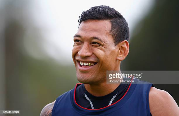 Israel Folau looks on during a Waratahs Super Rugby training session at Centennial Park on January 7 2013 in Sydney Australia