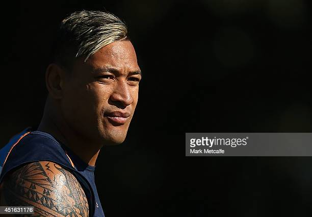 Israel Folau looks on during a Waratahs Super Rugby training session at Kippax Lake on July 3 2014 in Sydney Australia