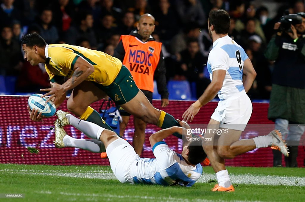 Israel Folau of Australia in action during a match between Argentina Los Pumas and Australia Wallabies as part of The Rugby Championship 2014 at...