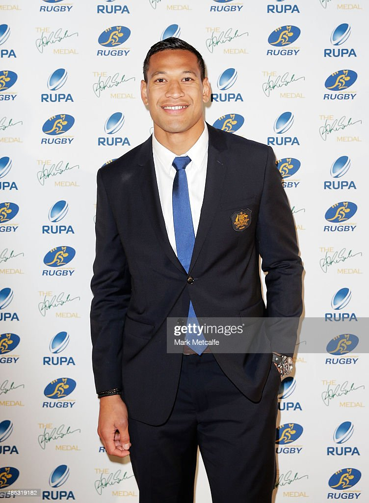 <a gi-track='captionPersonalityLinkClicked' href=/galleries/search?phrase=Israel+Folau&family=editorial&specificpeople=4194699 ng-click='$event.stopPropagation()'>Israel Folau</a> of the Wallabies arrives at the John Eales Medal at Royal Randwick Racecourse on August 27, 2015 in Sydney, Australia.
