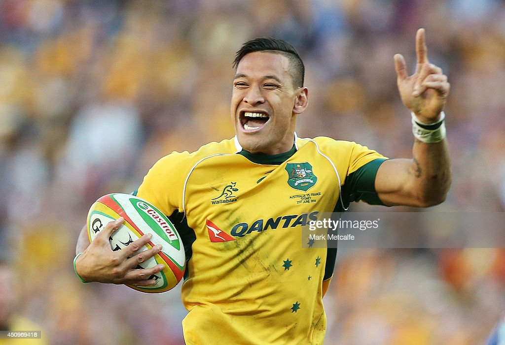 <a gi-track='captionPersonalityLinkClicked' href=/galleries/search?phrase=Israel+Folau&family=editorial&specificpeople=4194699 ng-click='$event.stopPropagation()'>Israel Folau</a> of the Wallabies celebrates as he runs in to score a try during the International Test match between the Australia Wallabies and France at Allianz Stadium on June 21, 2014 in Sydney, Australia.
