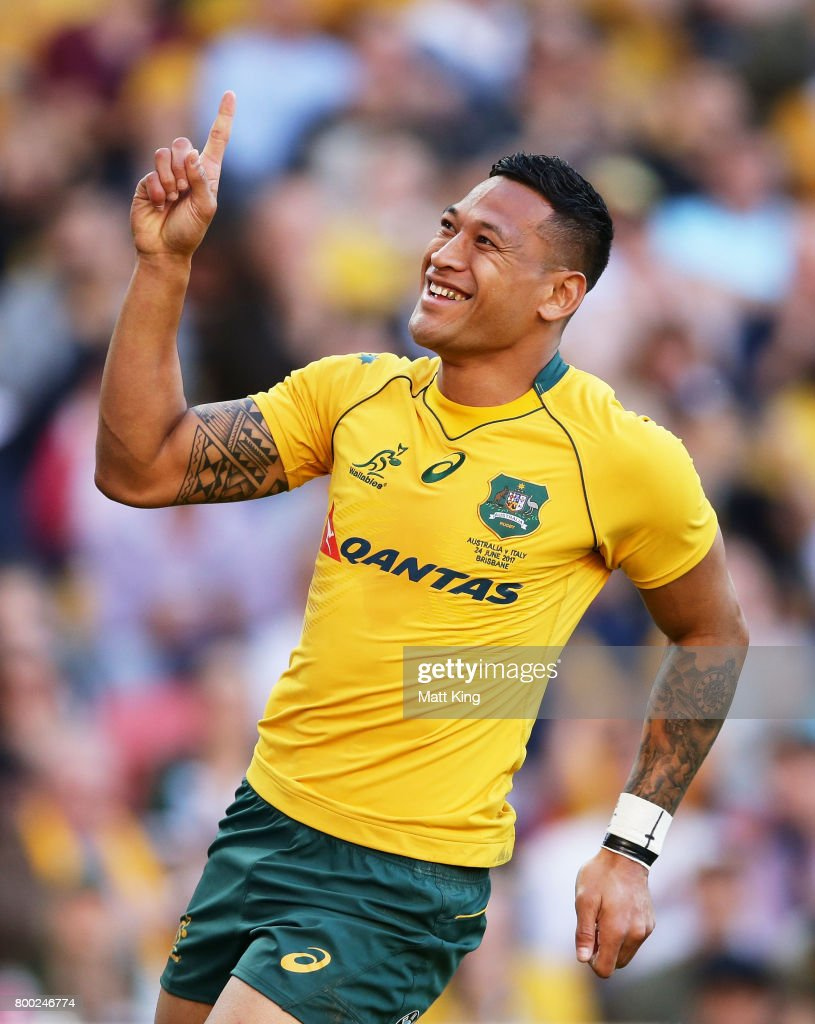 Israel Folau of the Wallabies celebrates scoring a try during the International Test match between the Australian Wallabies and Italy at Suncorp Stadium on June 24, 2017 in Brisbane, Australia.