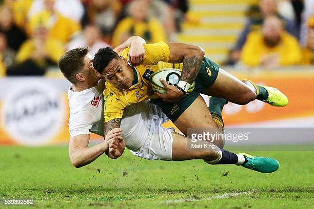 Israel Folau of the Wallabies is tackled by Owen Farrell of England during the International Test match between the Australian Wallabies and England...