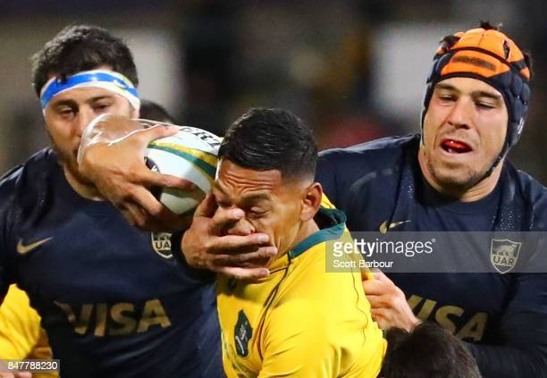 Israel Folau of the Wallabies is tackled during The Rugby Championship match between the Australian Wallabies and the Argentina Pumas at Canberra...