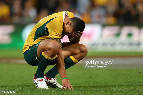 Israel Folau of the Wallabies looks dejcted after losing the Bledisloe Cup match between the Australian Wallabies and the New Zealand All Blacks at...