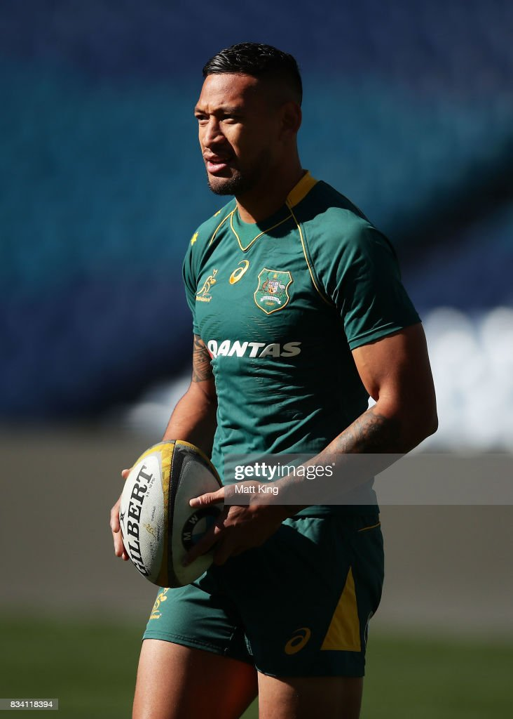 Israel Folau of the Wallabies looks on during the Australian Wallabies Captain's Run at ANZ Stadium on August 18, 2017 in Sydney, Australia.