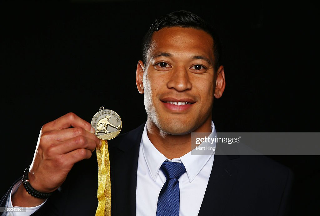 <a gi-track='captionPersonalityLinkClicked' href=/galleries/search?phrase=Israel+Folau&family=editorial&specificpeople=4194699 ng-click='$event.stopPropagation()'>Israel Folau</a> of the Wallabies poses after winning the John Eales Medal during the John Eales Medal at Royal Randwick Racecourse on August 27, 2015 in Sydney, Australia.