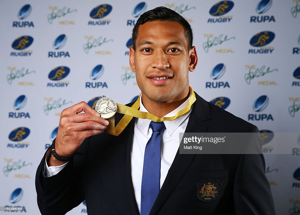 Israel Folau of the Wallabies poses after winning the John Eales Medal during the John Eales Medal at Royal Randwick Racecourse on August 27 2015 in...