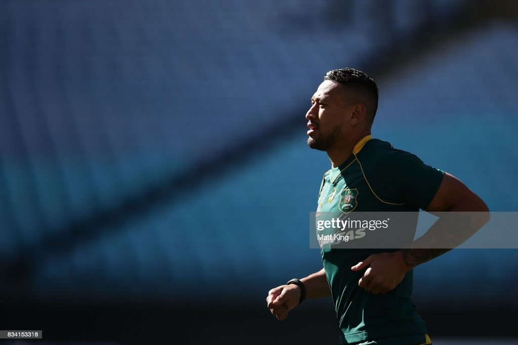 Israel Folau of the Wallabies runs during the Australian Wallabies Captain's Run at ANZ Stadium on August 18, 2017 in Sydney, Australia.