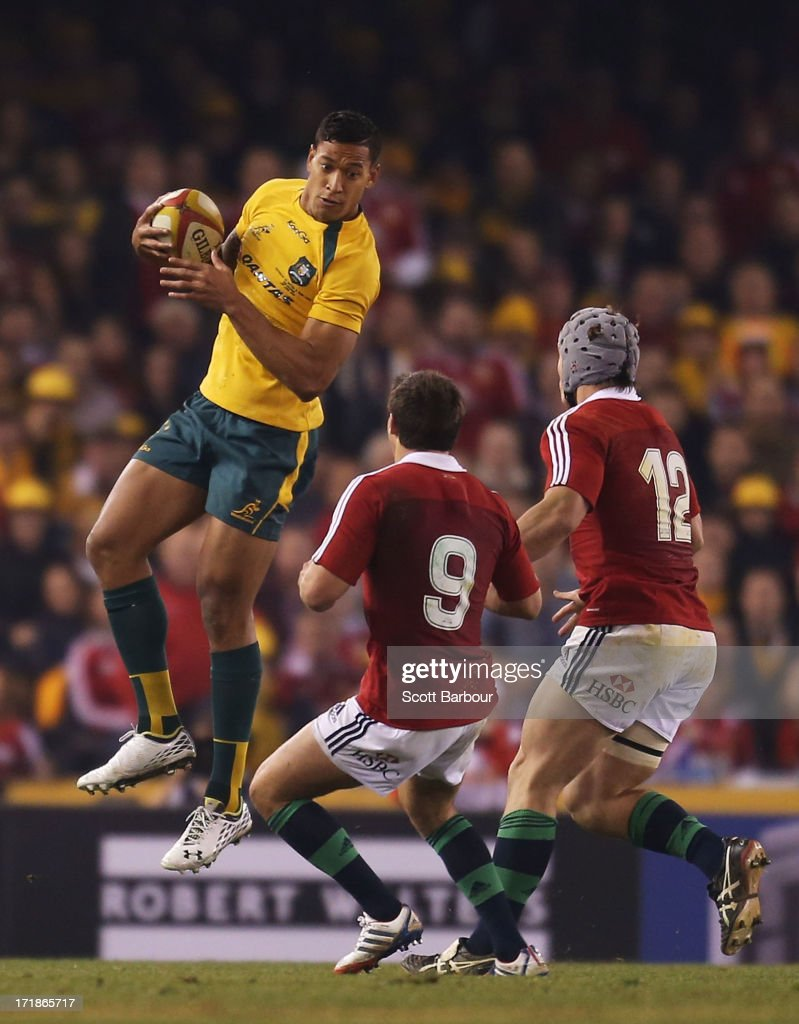 Israel Folau of the Wallabies runs with the ball during game two of the International Test Series between the Australian Wallabies and the British & Irish Lions at Etihad Stadium on June 29, 2013 in Melbourne, Australia.