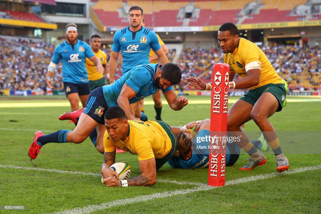 Israel Folau of the Wallabies scores try during the International Test match between the Australian Wallabies and Italy at Suncorp Stadium on June 24, 2017 in Brisbane, Australia.