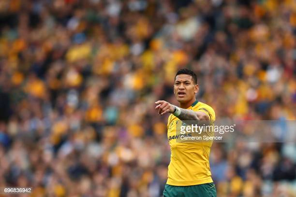 Israel Folau of the Wallabies signals to team mates during the International Test match between the Australian Wallabies and Scotland at Allianz...