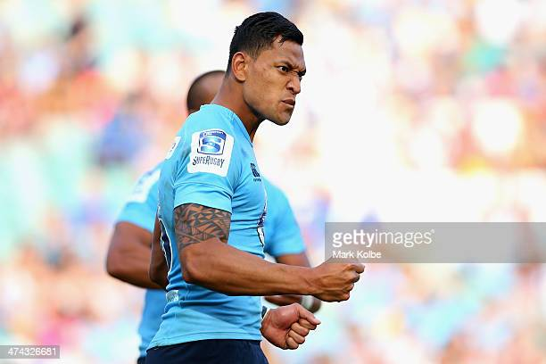 Israel Folau of the Waratahs celebrates a victory during the round two Super Rugby match between the Waratahs and the Western Force at Allianz...
