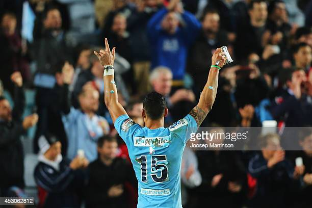 Israel Folau of the Waratahs celebrates winning the Super Rugby Grand Final match between the Waratahs and the Crusaders at ANZ Stadium on August 2...