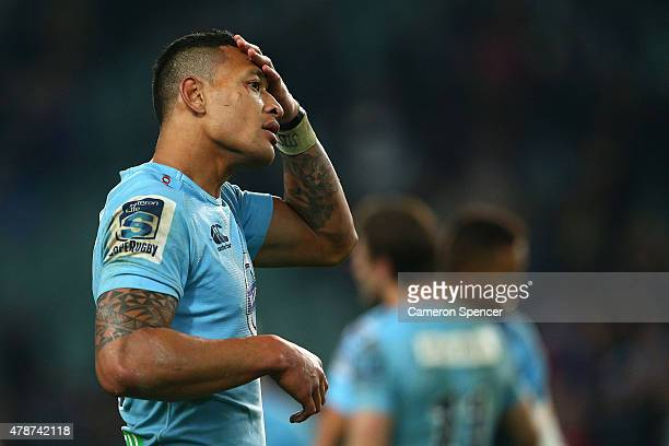 Israel Folau of the Waratahs looks dejected after losing the Super Rugby Semi Final match between the Waratahs and the Highlanders at Allianz Stadium...