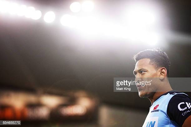 Israel Folau of the Waratahs looks on during the round 14 Super Rugby match between the Waratahs and the Chiefs at Allianz Stadium on May 27 2016 in...