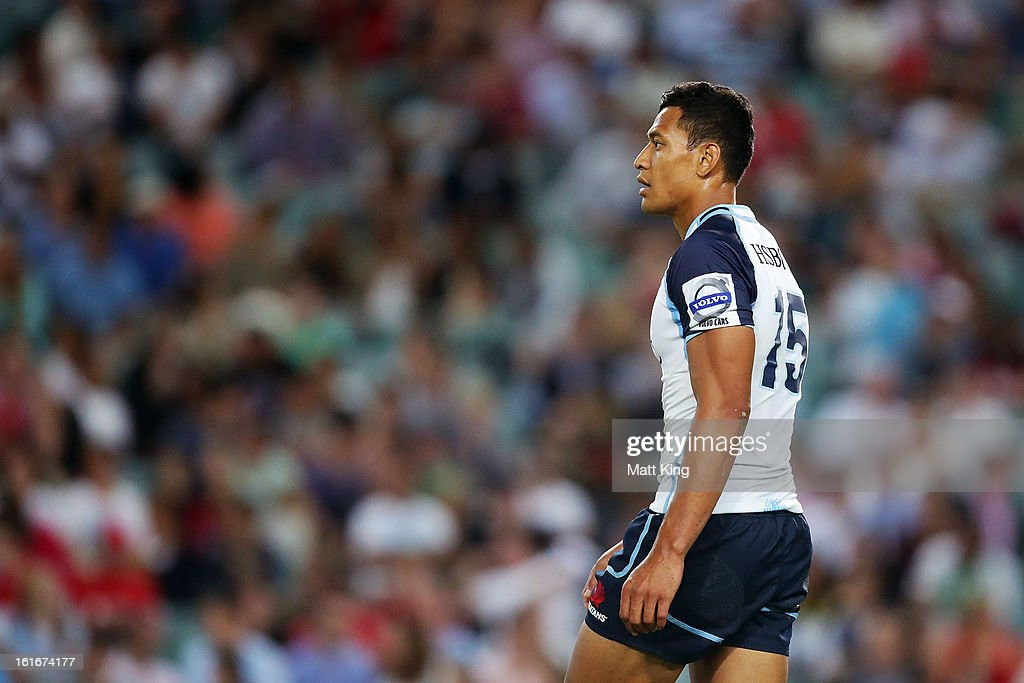 Israel Folau of the Waratahs looks on during the Super Rugby trial match between the Waratahs and the Crusaders at Allianz Stadium on February 14, 2013 in Sydney, Australia.