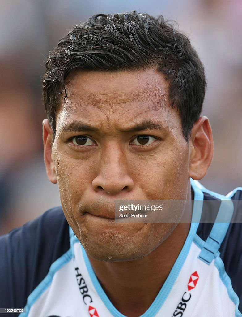 Israel Folau of the Waratahs looks on from the bench after being yellow-carded during the Super Rugby trial match between the Waratahs and the Rebels at North Hobart Stadium on February 2, 2013 in Hobart, Australia.