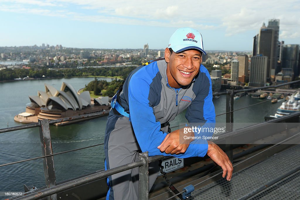 <a gi-track='captionPersonalityLinkClicked' href=/galleries/search?phrase=Israel+Folau&family=editorial&specificpeople=4194699 ng-click='$event.stopPropagation()'>Israel Folau</a> of the Waratahs poses on top of the Sydney Harbour Bridge during a Waratahs promotional event during their season launch on February 6, 2013 in Sydney, Australia.