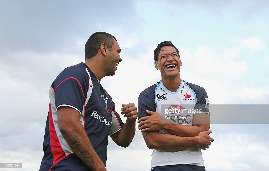 Israel Folau (R) of the Waratahs talks with Kurtley Beale of the Rebels after the Super Rugby trial match between the Waratahs and the Rebels at North Hobart Stadium on February 2, 2013 in Hobart, Australia.