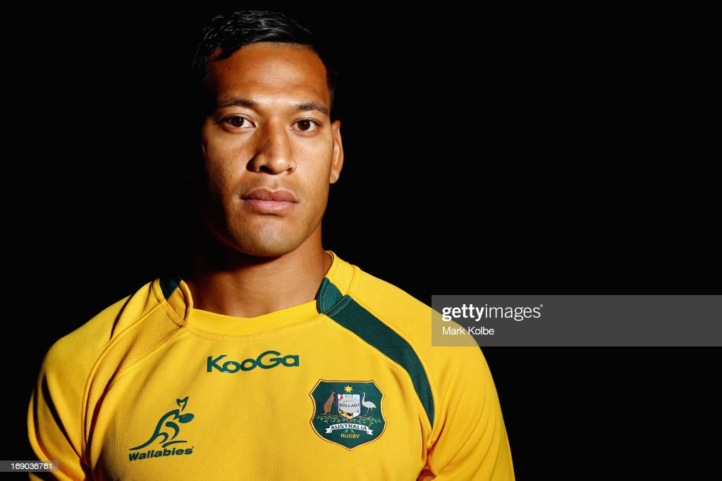 <a gi-track='captionPersonalityLinkClicked' href=/galleries/search?phrase=Israel+Folau&family=editorial&specificpeople=4194699 ng-click='$event.stopPropagation()'>Israel Folau</a> poses during an Australian Wallabies portrait shoot on April 12, 2013 in Sydney, Australia.