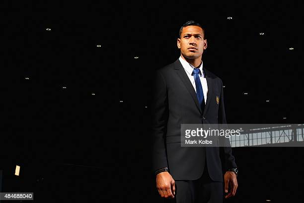 Israel Folau poses during the Australian Wallabies Rugby World Cup squad announcement at Hangar 96 Qantas Sydney Jet Base on August 21 2015 in Sydney...