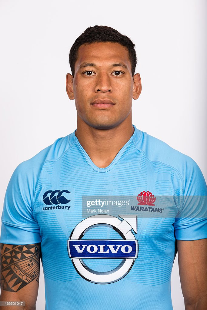 Israel Folau poses during the official 2014 NSW Waratahs Super Rugby headshots session at Allianz Stadium on January 24 2014 in Sydney Australia