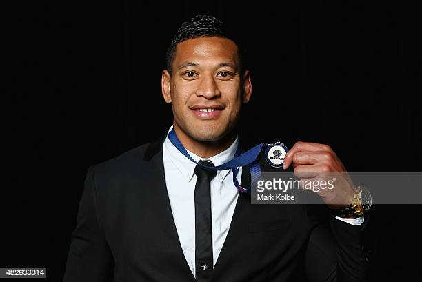 Israel Folau poses with the Waratahs Best Back medal at the NSW Waratahs Awards Night at Royal Randwick Racecourse on August 1 2015 in Sydney...