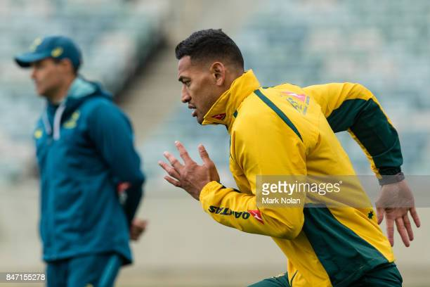 Israel Folau runs during the Australian Wallabies Captain's Run at GIO Stadium on September 15 2017 in Canberra Australia