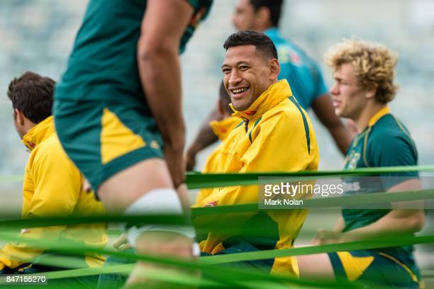 Israel Folau watches on during the Australian Wallabies Captain's Run at GIO Stadium on September 15 2017 in Canberra Australia