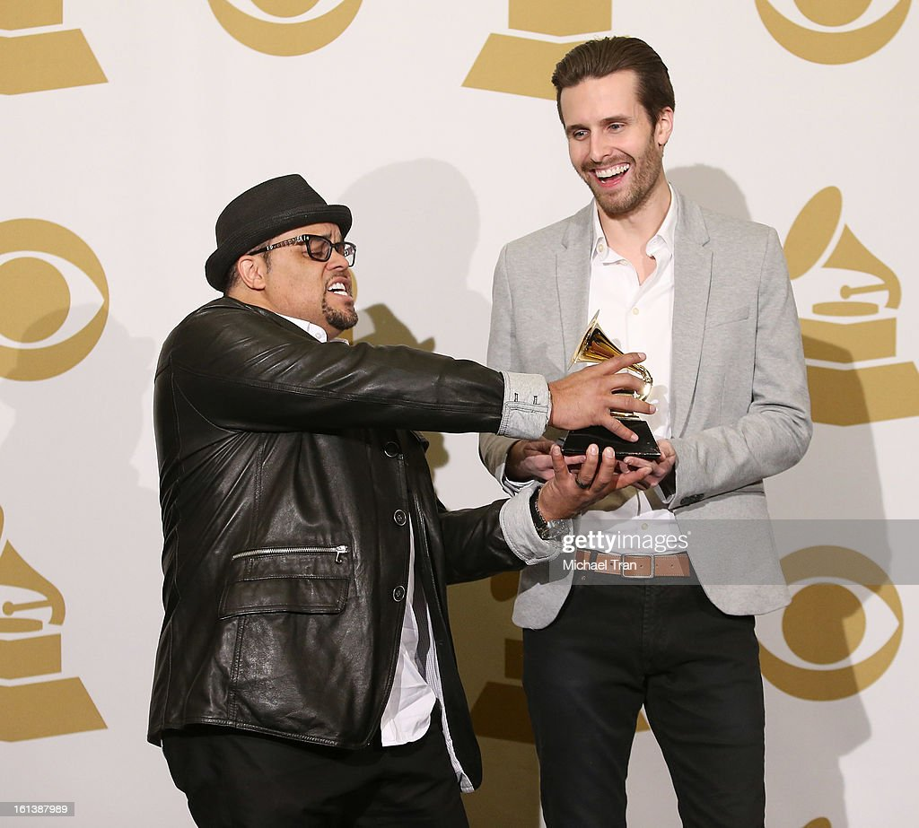 Israel Houghton (L) and Micah Massey attend The 55th Annual GRAMMY Awards - press room held at Staples Center on February 10, 2013 in Los Angeles, California.