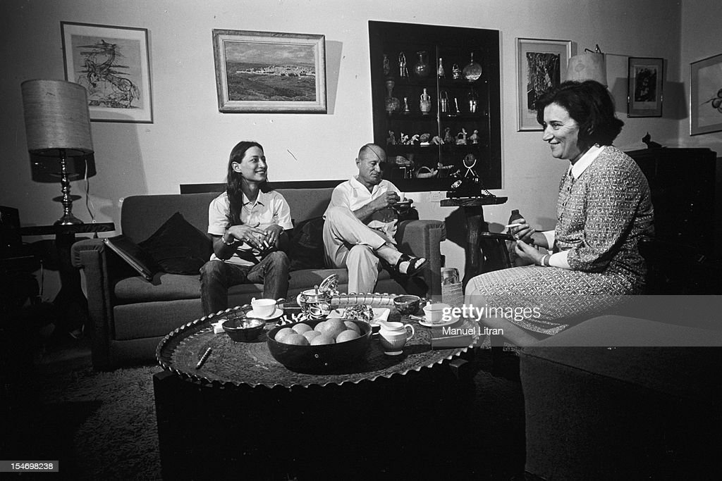 Israel, in July 1967, <a gi-track='captionPersonalityLinkClicked' href=/galleries/search?phrase=Moshe+Dayan&family=editorial&specificpeople=93808 ng-click='$event.stopPropagation()'>Moshe Dayan</a>, has Zahala home in the suburbs of Tel Aviv, in his living room, with his wife Ruth and daughter Yael .