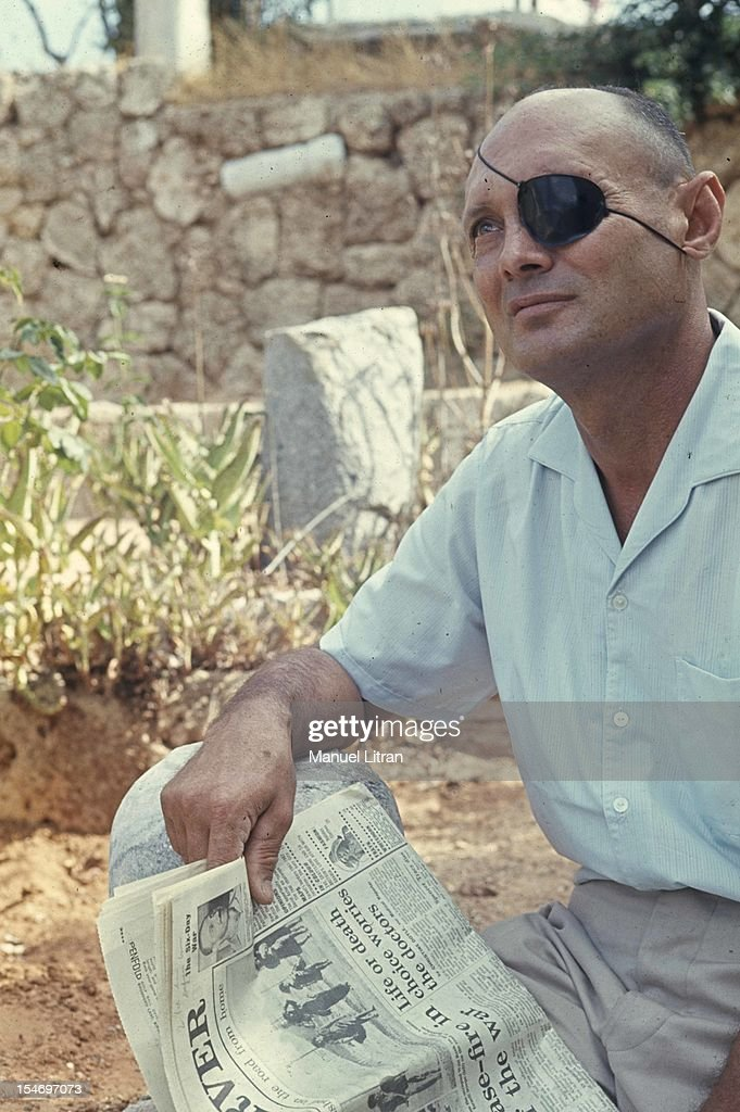 Israel, in July 1967, <a gi-track='captionPersonalityLinkClicked' href=/galleries/search?phrase=Moshe+Dayan&family=editorial&specificpeople=93808 ng-click='$event.stopPropagation()'>Moshe Dayan</a>, in his garden, his house has Zahala in the suburbs of Tel Aviv, with a daily newspaper .