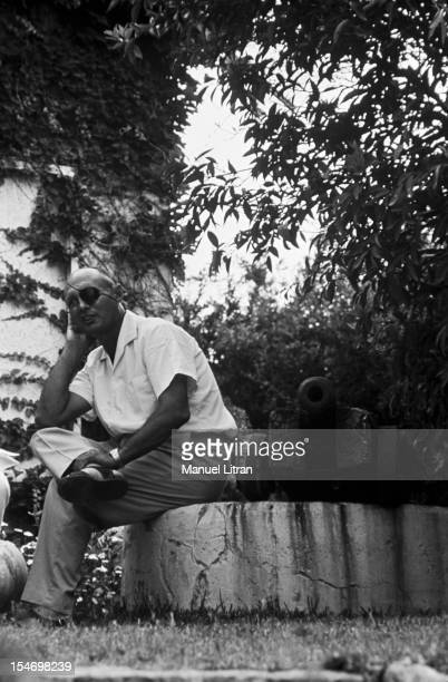 Israel in July 1967 Moshe Dayan in his garden his house has Zahala in the suburbs of Tel Aviv