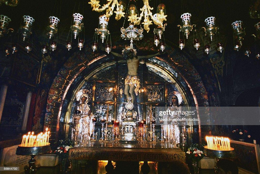 Israel, Jerusalem, Church of the Holy Sepulchre, Chapel of Calvary, Interiors of a church