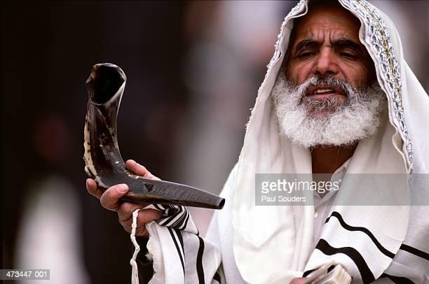 Israel, Jerusalem, Rabbi prays at Western Wall,Passover