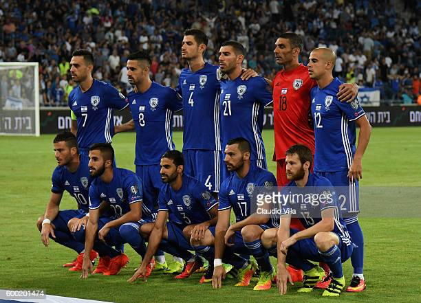 Israel pose for a photo prior to the FIFA 2018 World Cup Qualifier between Israel and Italy at Itztadion Sammy Ofer on September 5 2016 in Haifa...