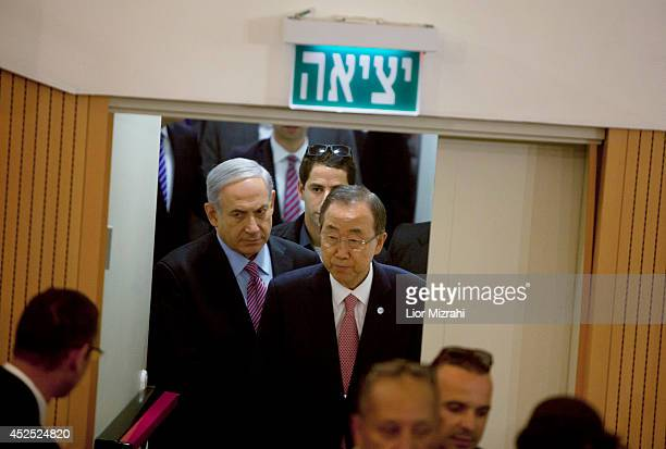 Israel Prime Minister Benjamin Netanyahu and Secretary General of The United Nations Ban Ki Moon arrive for a press conference on July 22 2014 in Tel...