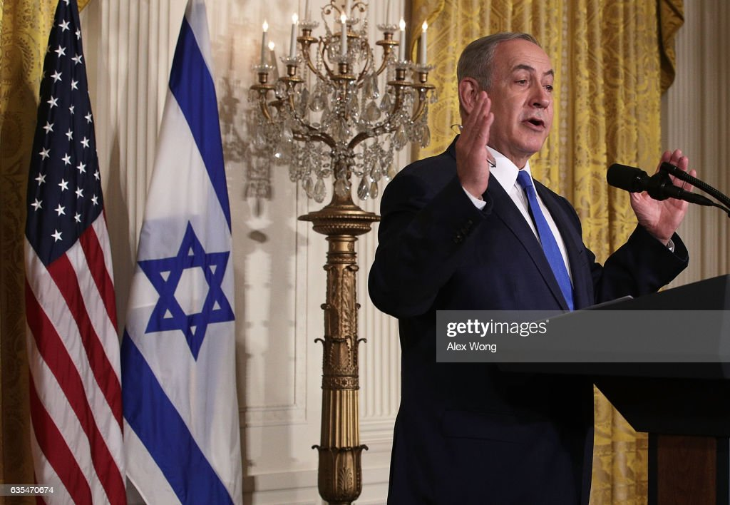 Israel Prime Minister Benjamin Netanyahu and U.S. President Donald Trump (not pictured) participate in a joint news conference at the East Room of the White House February 15, 2017 in Washington, DC. President Trump hosted Prime Minister Netanyahu for talks for the first time since Trump took office on January 20.