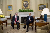 Israel Prime Minister Benjamin Netanyahu sits with US President Barack Obama during a meeting in the Oval Office of the White House March 3 2014 in...