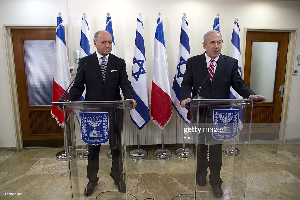 Israel Prime Minister <a gi-track='captionPersonalityLinkClicked' href=/galleries/search?phrase=Benjamin+Netanyahu&family=editorial&specificpeople=118594 ng-click='$event.stopPropagation()'>Benjamin Netanyahu</a> (R) speaks during his meeting with the Foreign Minister of France <a gi-track='captionPersonalityLinkClicked' href=/galleries/search?phrase=Laurent+Fabius&family=editorial&specificpeople=540660 ng-click='$event.stopPropagation()'>Laurent Fabius</a> at the Prime Minister office August 25, 2013 in Jerusalem, Israel. Israeli and Palestinian negotiators formally resumed direct peace talks earlier this month after a hiatus of nearly three years.