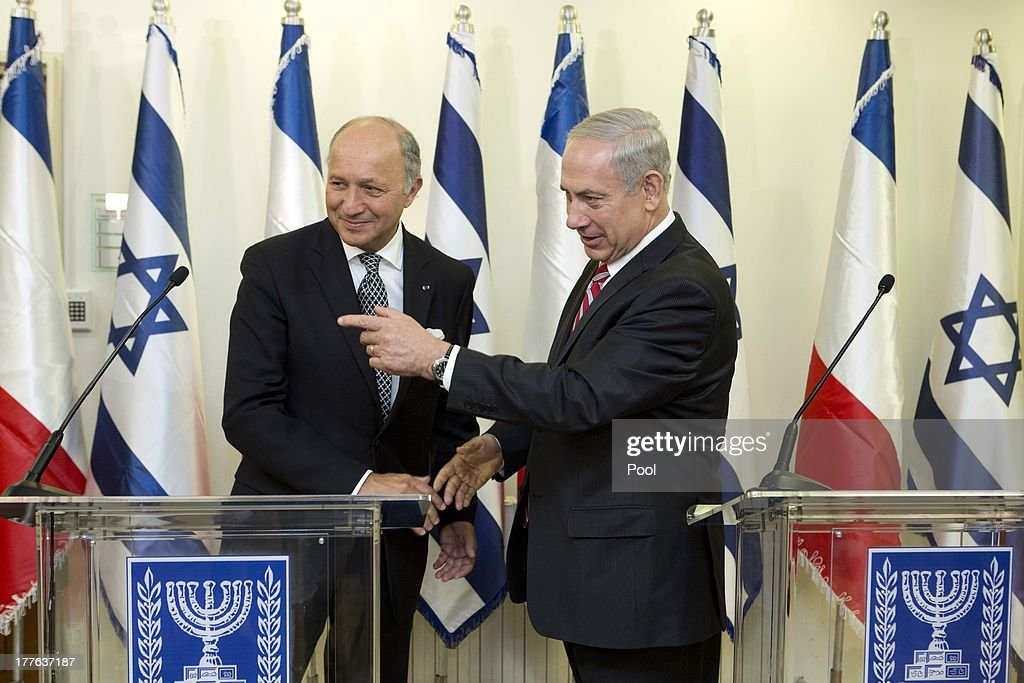 Israel Prime Minister <a gi-track='captionPersonalityLinkClicked' href=/galleries/search?phrase=Benjamin+Netanyahu&family=editorial&specificpeople=118594 ng-click='$event.stopPropagation()'>Benjamin Netanyahu</a> (R) welcomes Foreign Minister of France <a gi-track='captionPersonalityLinkClicked' href=/galleries/search?phrase=Laurent+Fabius&family=editorial&specificpeople=540660 ng-click='$event.stopPropagation()'>Laurent Fabius</a> during a presser at the Prime Minister office August 25, 2013 in Jerusalem, Israel. Israeli and Palestinian negotiators formally resumed direct peace talks earlier this month after a hiatus of nearly three years.