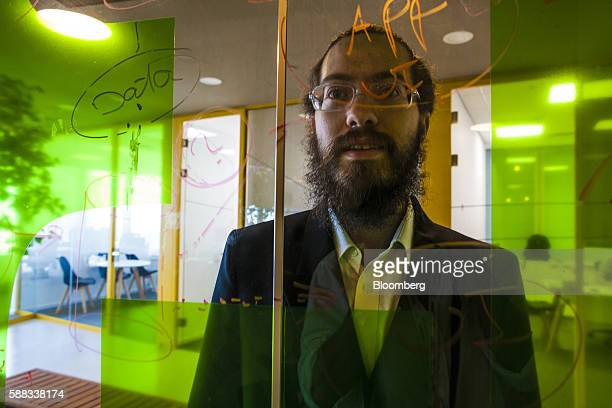 Israel Rosenberg tech entrepreneur and cofounder of Pareto poses for a photograph during a meeting of haredi ultraOrthodox jews working in tech...