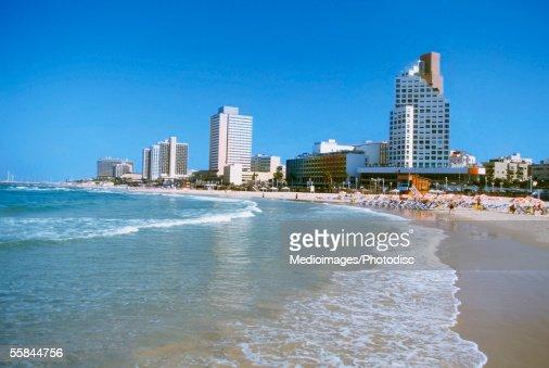 Israel, Tel Aviv, Waves crashing on the beach