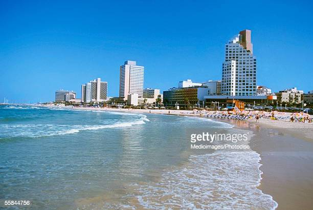 Israel, Tel Aviv, Waves crashing on the beach